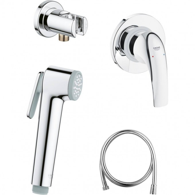 Готовый комплект для гигиенического душа GROHE BAUCURVE: встраиваемый смеситель, гигиенический душ со шлангом и держателем GROHE, хром 124899