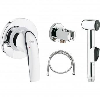 Готовый комплект для гигиенического душа GROHE BAUCURVE: встраиваемый смеситель, гигиенический душ со шлангом и держателем, хром