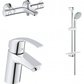 Готовый набор для ванны GROHE (смеситель для раковины, термостатический смеситель для ванны, душевой гарнитур) хром