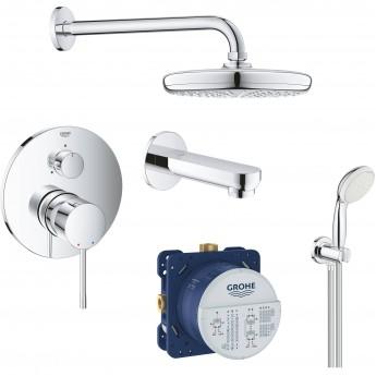 Набор для ванны: смеситель для ванны GROHE ESSENCE, верхний душ, ручной душ, круглая розетка, излив, хром (119699)