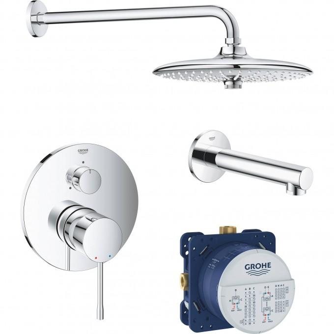 Набор для ванны: смеситель GROHE ESSENCE, верхний душ, ручной душ, круглая розетка, излив, хром 119697