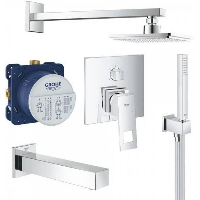 Набор для ванны: смеситель GROHE Eurocube, верхний душ, ручной душ, квадратная розетка, излив, хром 119696
