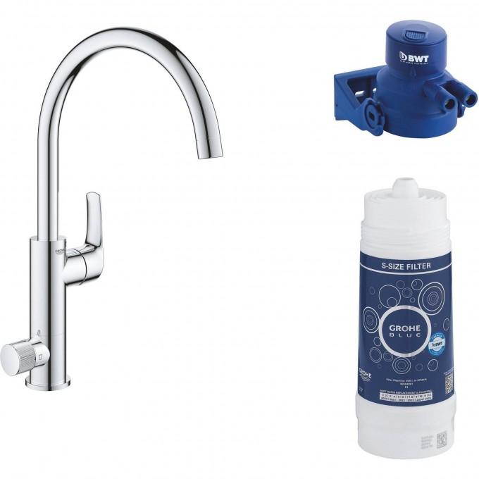 Смеситель для кухни GROHE BLUE PURE EUROSMART с функцией фильтрации, хром 119708