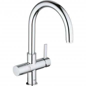 Смеситель для кухни GROHE BLUE с высоким изливом для водопроводной и фильтрованной воды, хром
