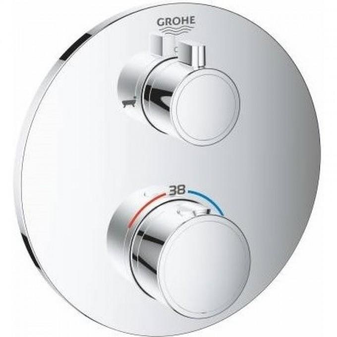 Термостатический смеситель для ванны GROHE GROHTHERM с переключателем на 2 положения ванна-душ, круглая розетка, хром 24077000